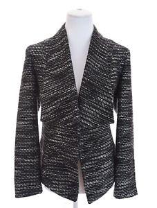 Chicos Tweed Open Front Shawl Collar Blazer Jacket Black White Womens Sz 1 ~ 8 M