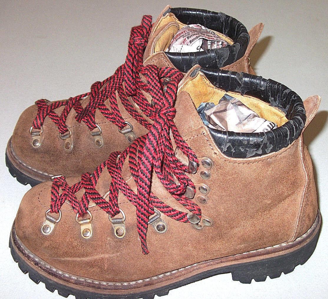 Vintage VIBRAM marron Suede Leather LACE UP Mountaineering Mountaineering Mountaineering HIKING bottes Taille 8B 1924fb