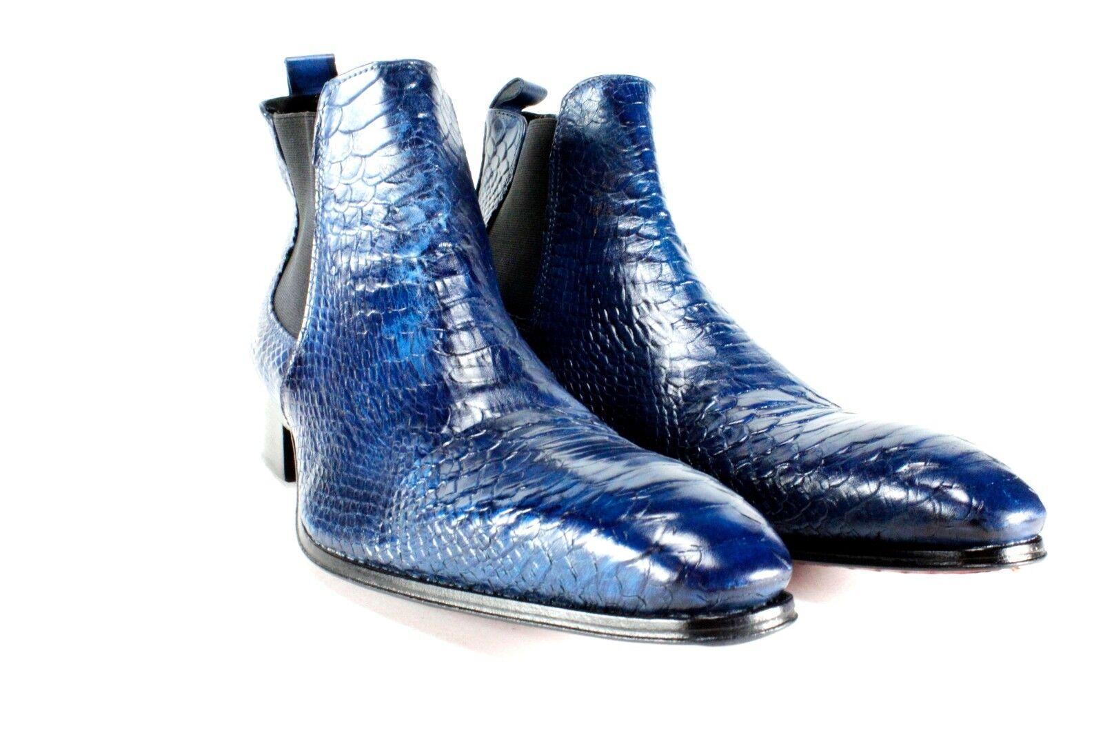Ivan Troy Azul Cocodrilo Hecho a Mano Hombre Zapatos   Cuero Italiano Vestido