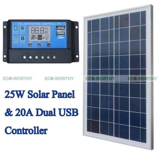25W 12V Solar Panel System Kit + PWM 20A Charger Controller for Boat Car Yacht