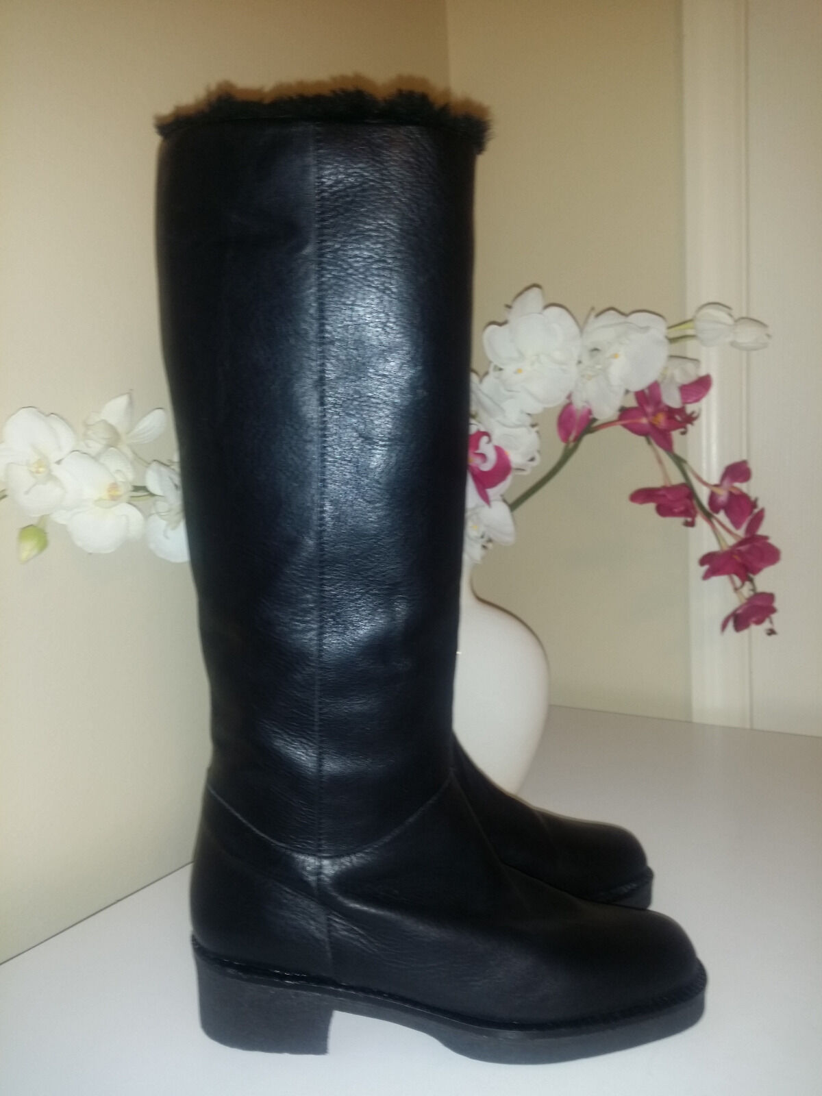 Vicini Italy Ligmar Sole Black Genuine Leather With Fur Lining Boots Sz.39,5 (8)