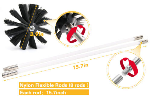 Dryer Duct Cleaning Kit Flexible Lint Remover Power Drill 8 Flexible Rods