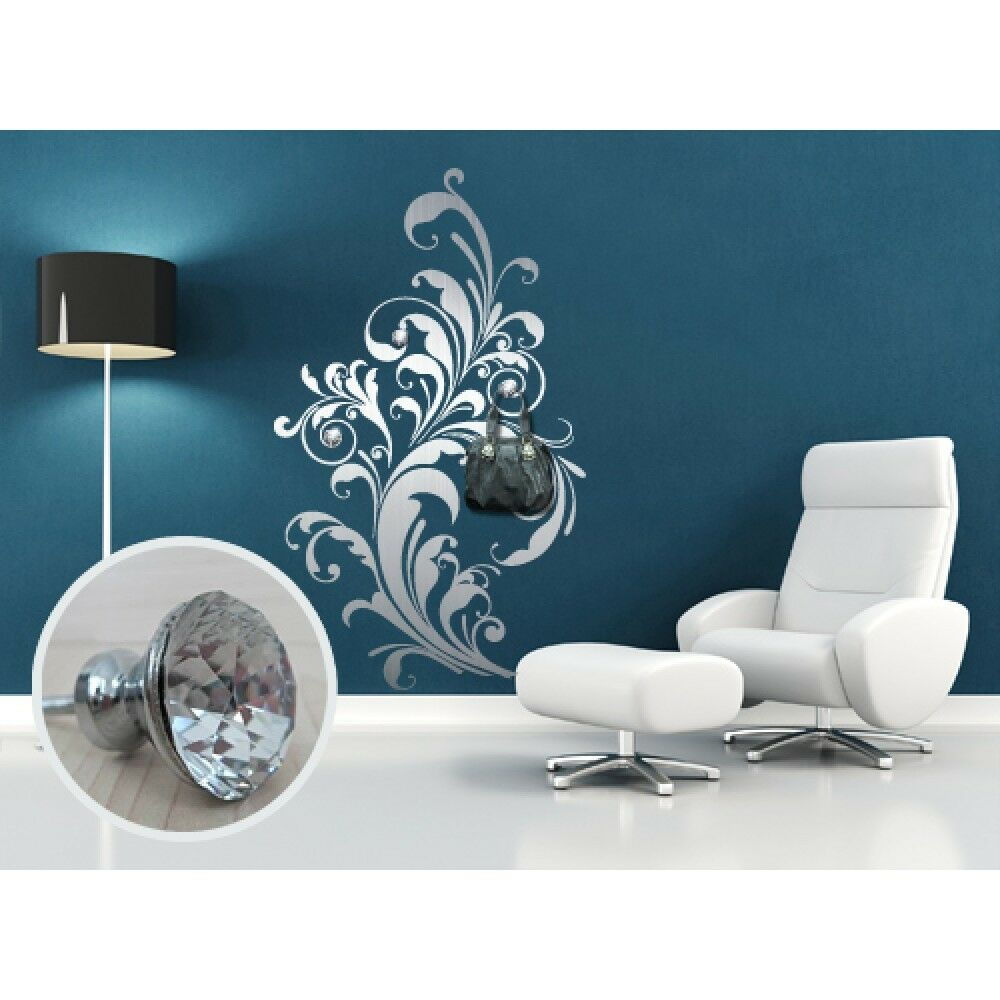 00506 adesivo murale Appendiabiti Silber con 3 pomelli cristallo misure 96x160