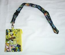 Yellow Spongebob Squarepants Lanyard Fast Pass ID Badge Holder Zipper Wallet NEW