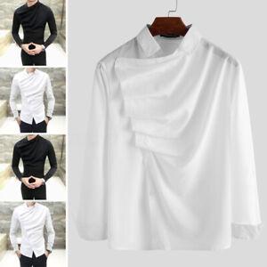 INCERUN-Men-039-s-Gothic-Steampunk-Shirt-Plus-Satin-Casual-Formal-Dress-Tops-Blouse