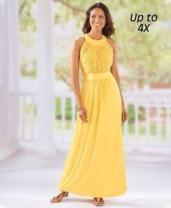 Details about Crochet Maxi Dress - Yellow Women\'s Plus Size 3X