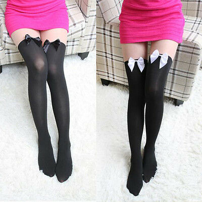 Womens Sexy Stockings Attractive Pantyhose Tattoo Mock Bow Thigh High Sock Tight
