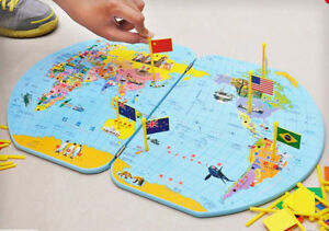 Montessori Geography Materials - Flag Stand, World Map And 36 Flags