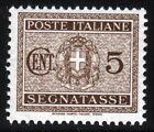 REGNO D'ITALIA - SEGNATASSE - STEMMA SABAUDO CON FASCI - Cent. 5 bruno - 1934