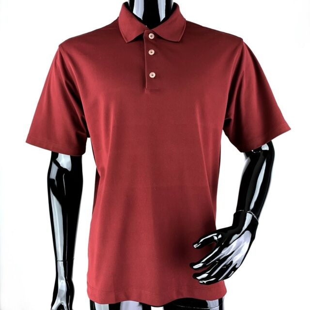 NIKE GOLF DRI-FIT Mens Medium Red 100% Polyester Golf Polo Shirt
