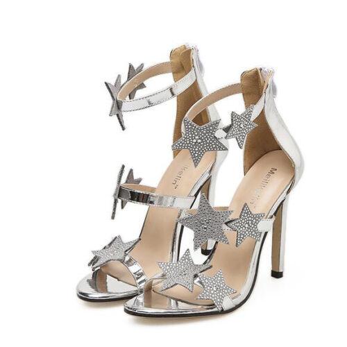 Stiletto 9669 Pelle Cm Eleganti Silver Tacco Simil Argento 11 Sandali ExAwzqx