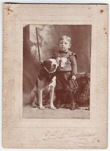SUPER-Cute-ca-1890-Victorian-Photo-Dog-w-Bow-tie-amp-Boy-Holding-Trap-Arcade-NY