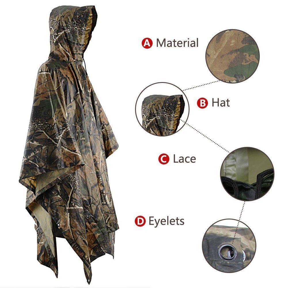 Wasserdicht Camouflage Poncho für die die die Lluvia Regenmantel Jagd Angeln Wandern 24b1b1