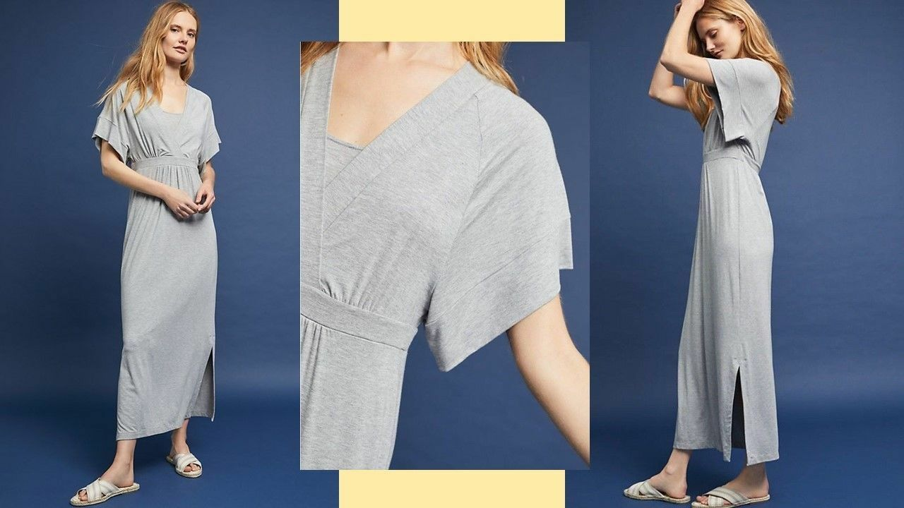 NWT Anthropologie Knit Kimono Midi Dress by Bordeaux in grau Sz M MSRP