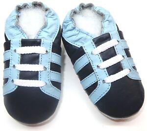 soft sole leather boy shoes minishoezoo boots navy sky 5-6 y toddler active