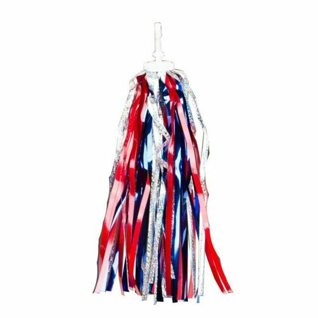 BICYCLE BIKE LASER STREAMERS POM POMS RED SILVER AND BLUE HANDLEBAR GRIPS NEW