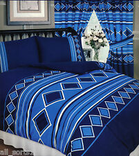 MEN ONLY NAUTICAL BLUE NAVY WHITE DIAMONDS STRIPE SQUARES DOUBLE BED DUVET SET