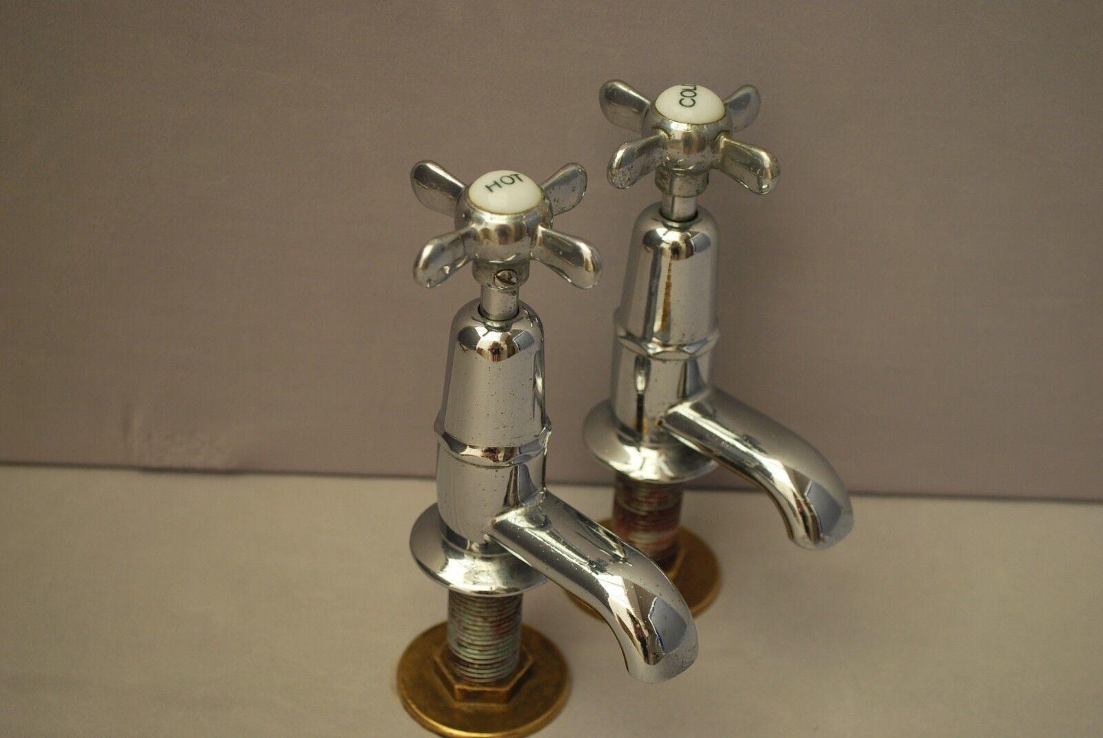 Chrome Salle de bains Basin robinets Reclaimed & entièrement remis à neuf rétro robinets (G3)