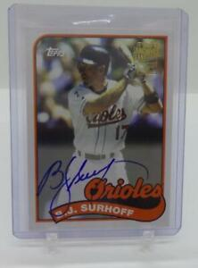 2016 TOPPS ARCHIVES FAN FAVORITES BJ SURHOFF ON CARD AUTO SIGNATURE ORIOLES