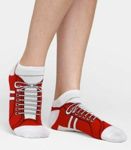 Red Sneaker Ankle Socks Unisex Fits Size 1 Child through Adult Women 11