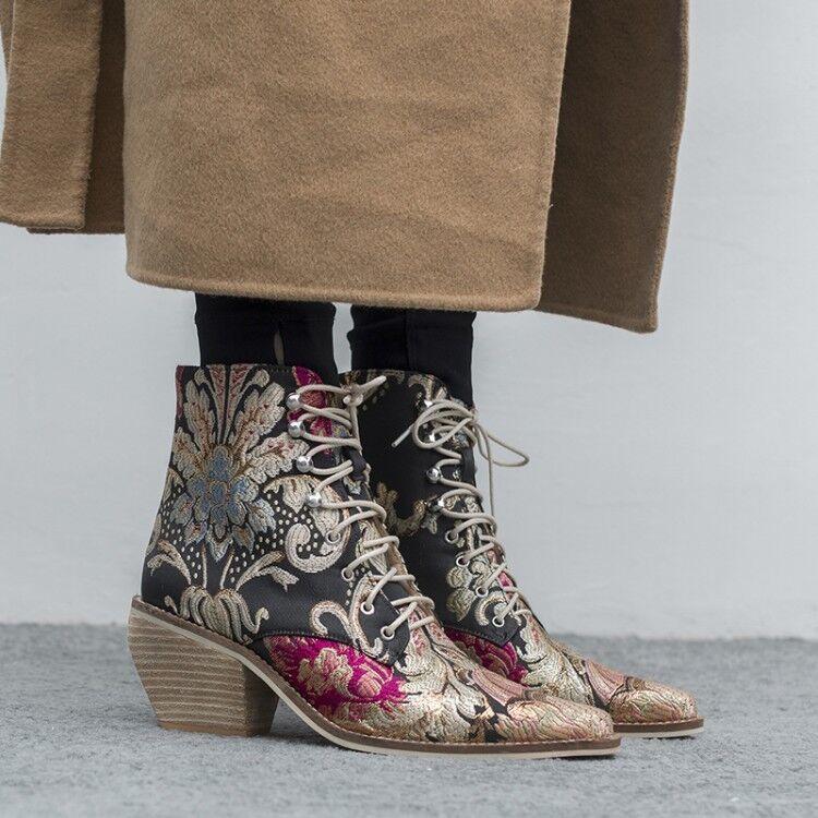 Femme broderie Bottines Haut Bloc Moyen Talon Vintage Chaussures à Lacets UK 2.5-9