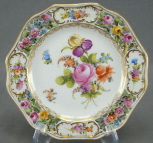 Carl-Thieme-Dresden-Hand-Painted-Reticulated-Floral-amp-Gold-Bread-Plate-N