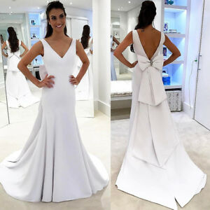 a00b00662d46 Image is loading Simple-V-Neck-Satin-Mermaid-Wedding-Dress-Backless-
