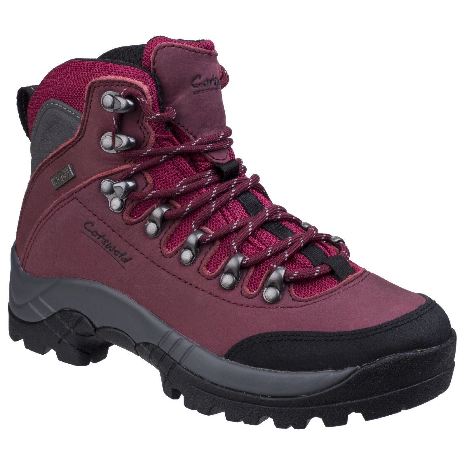 Zapatos promocionales para hombres y mujeres Cotswold Westonbirt Hiker Red Leather Waterproof Walking Trekking Boots Ladies