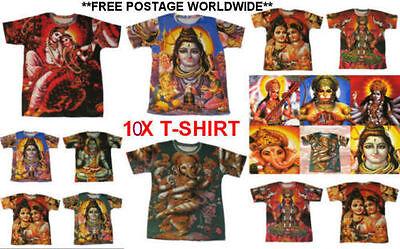 10 X Hindu Gods T-shirts,spaghetti India God Goddess Hippy Ganesh Laxmi Print Die Neueste Mode