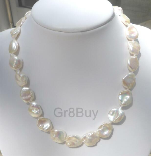 NECKLACE NATURAL PEARL WHITE BAROQUE KESHI 13 X 19MM