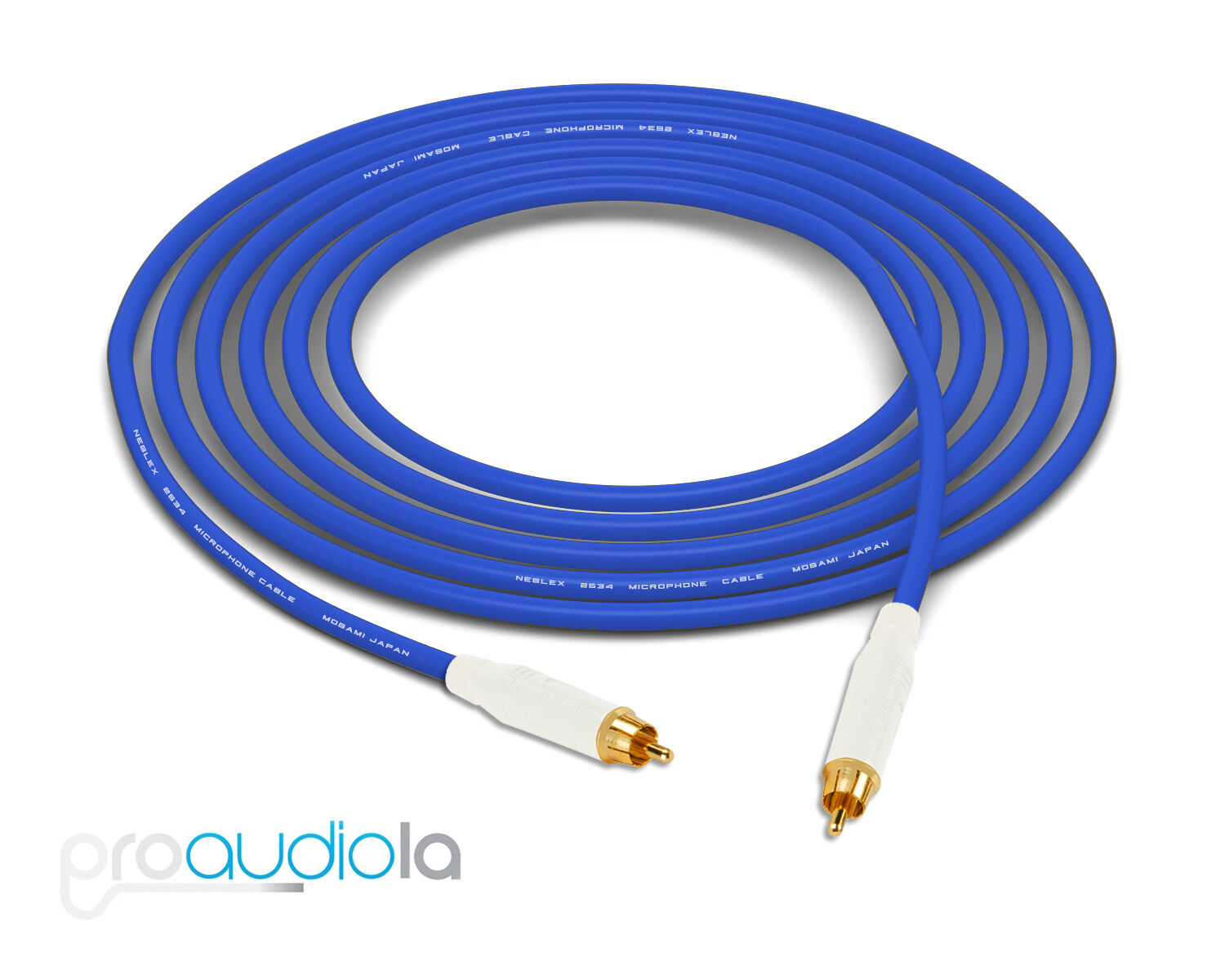 Mogami 2534 Quad Cable   White Amphenol RCA to RCA   bluee 15 Feet 15 Ft. 15'