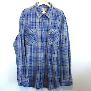 Duluth-Trading-Co-Flannel-Shirt-Men-039-s-XLT-Gray-Blue-Plaid-Cotton-Button-Front