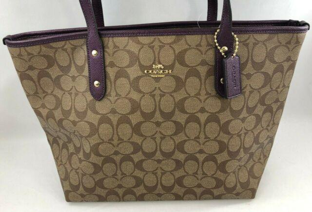 805c7011270ea Coach F39523 Signature Khaki Metallic Rasberry Tote Handbag Authentic