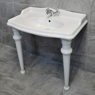 Green Hall 900mm Console Basin with Legs Ceramic 1 Tap Hole Traditional Sink