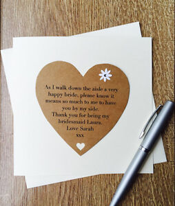 handmade thank you for being my bridesmaid card personalised poem