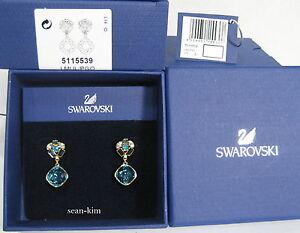 Image Is Loading Swarovski Cypress Small Pierced Earrings Vintage Blue Crystal