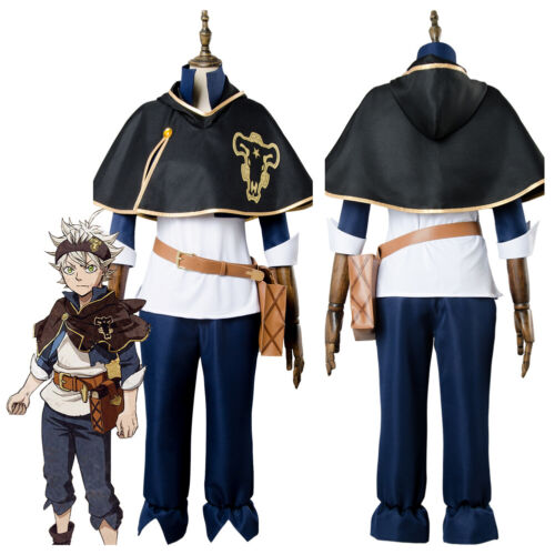 New Cosplay Black Clover Asta Bull Costume Outfit Uniform Suit Jacket Cape Wig