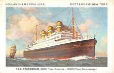 TSS Statendam Holand America Line Rotterdam New York Antique Postcard K60563