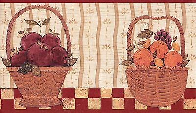 Wallpaper Border Warren Kimble Americana Country Fruit Baskets With Red Trim