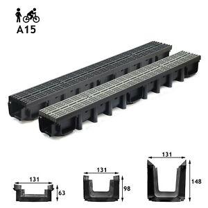 A15-Entwaesserungsrinne-1-5t-1-10m-Bodenrinne-Tiefe-63-98-148-Line-schwarz-grau