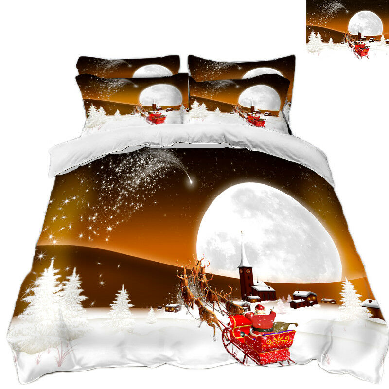3D Natale Xmas Neve 78 Federe Letto Trapunta Set Copripiumino Singolo Regina Regno Unito
