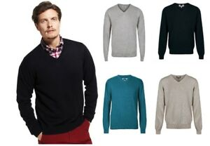 Mens-M-amp-S-Jumper-V-Neck-Pure-Cotton-Knitted-Long-Sleeve-Sweater-Pullover-Top-Size