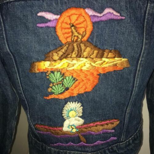 Vintage 1970's Embroidered Native American Scene B