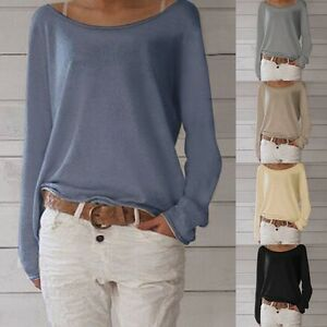 Women-Casual-Long-Sleeve-Knit-Pullover-Sweater-Jumper-Tops-T-shirts-Tee-Blouse