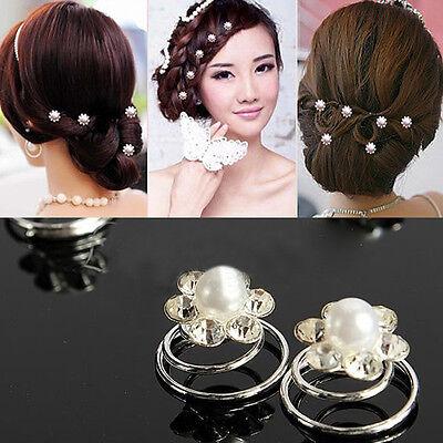 6/12x Bridal Wedding Prom Crystal Pearl Flower Hair Coils Swirl  Spiral Twist