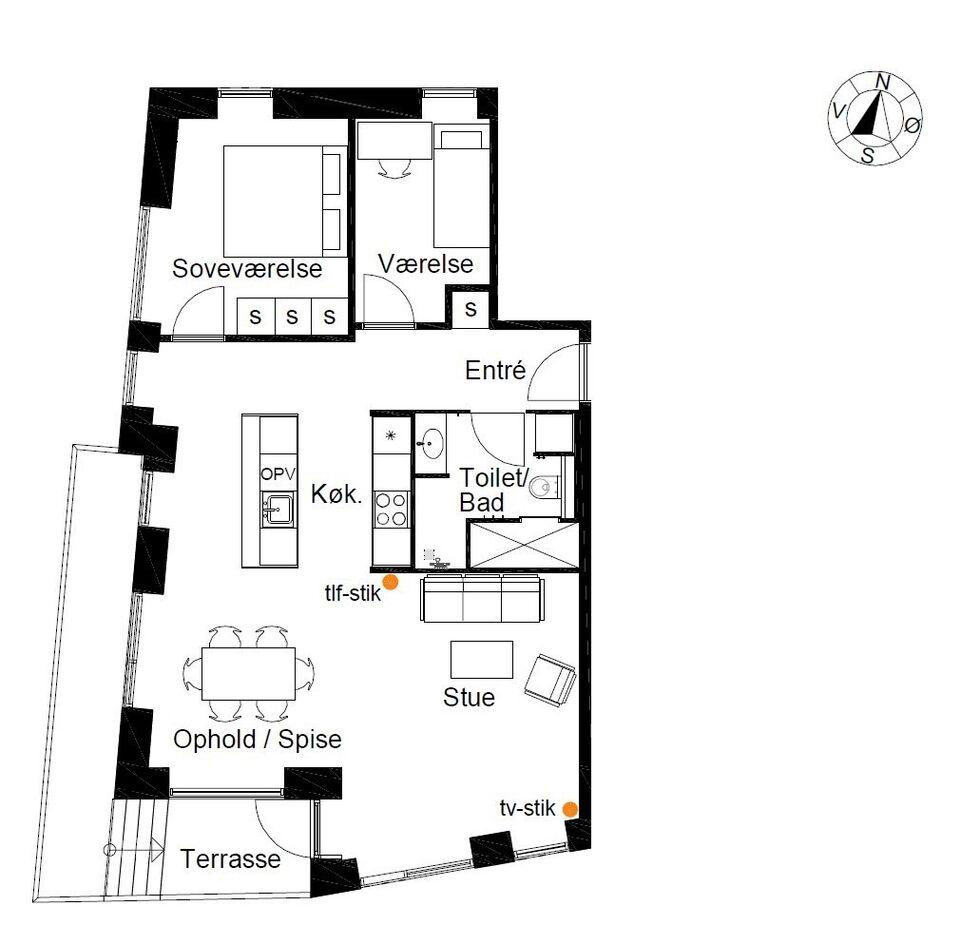 2100 vær. 2 lejlighed, m2 97, Marmorvej
