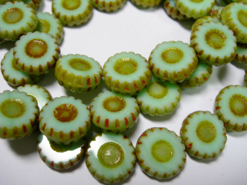 15 12mm Czech Glass Mint Green Picasso Daisy Flower Coin Beads