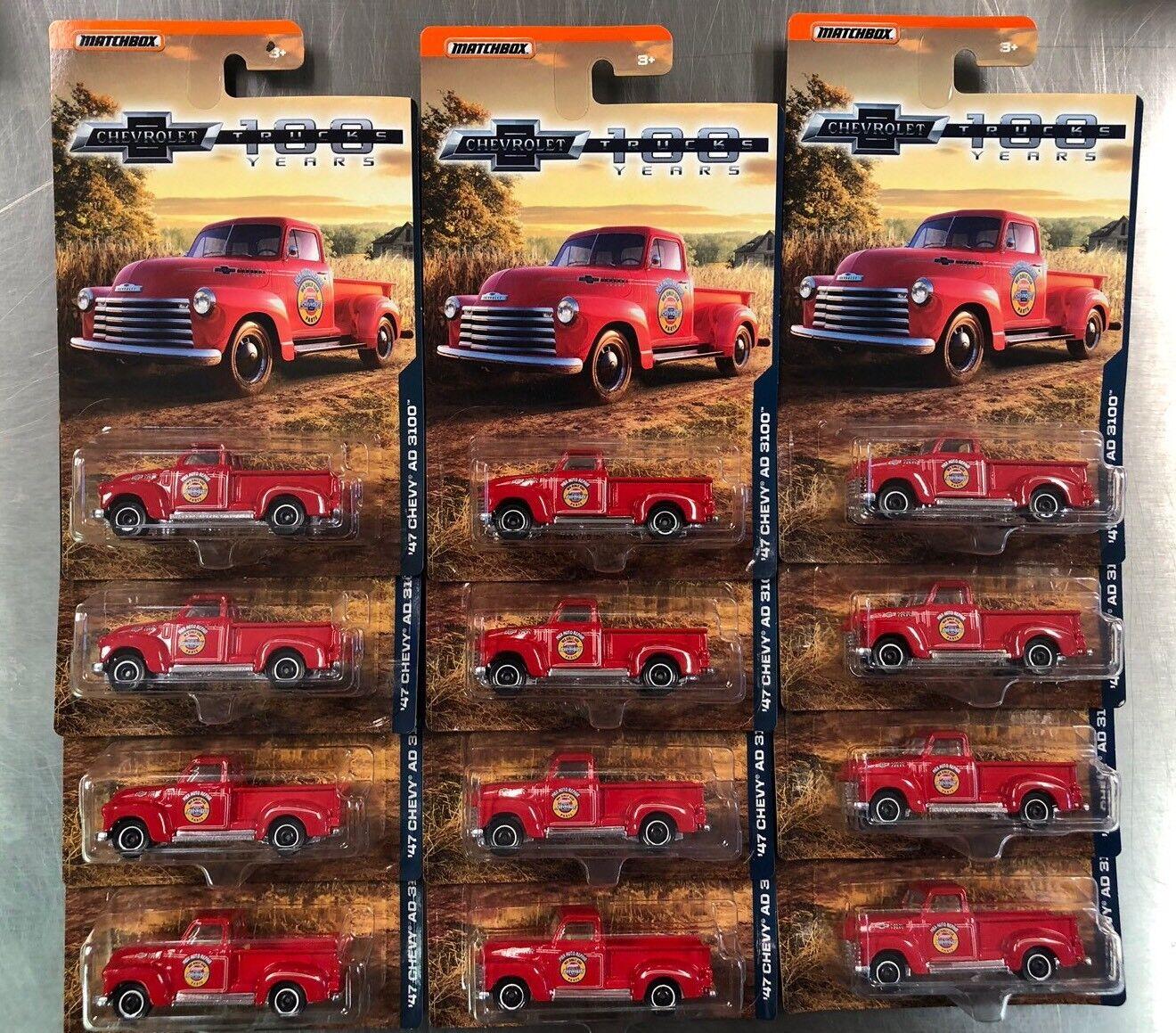 MATCHBOX 1947 CHEVY AD 3100 Camionnette 100 ans Lot de 12 LIVRAISON GRATUITE
