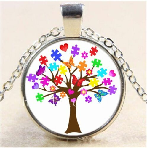 Autism Awareness Tree Cabochon Glass Tibet Silver Chain Pendant  Necklace