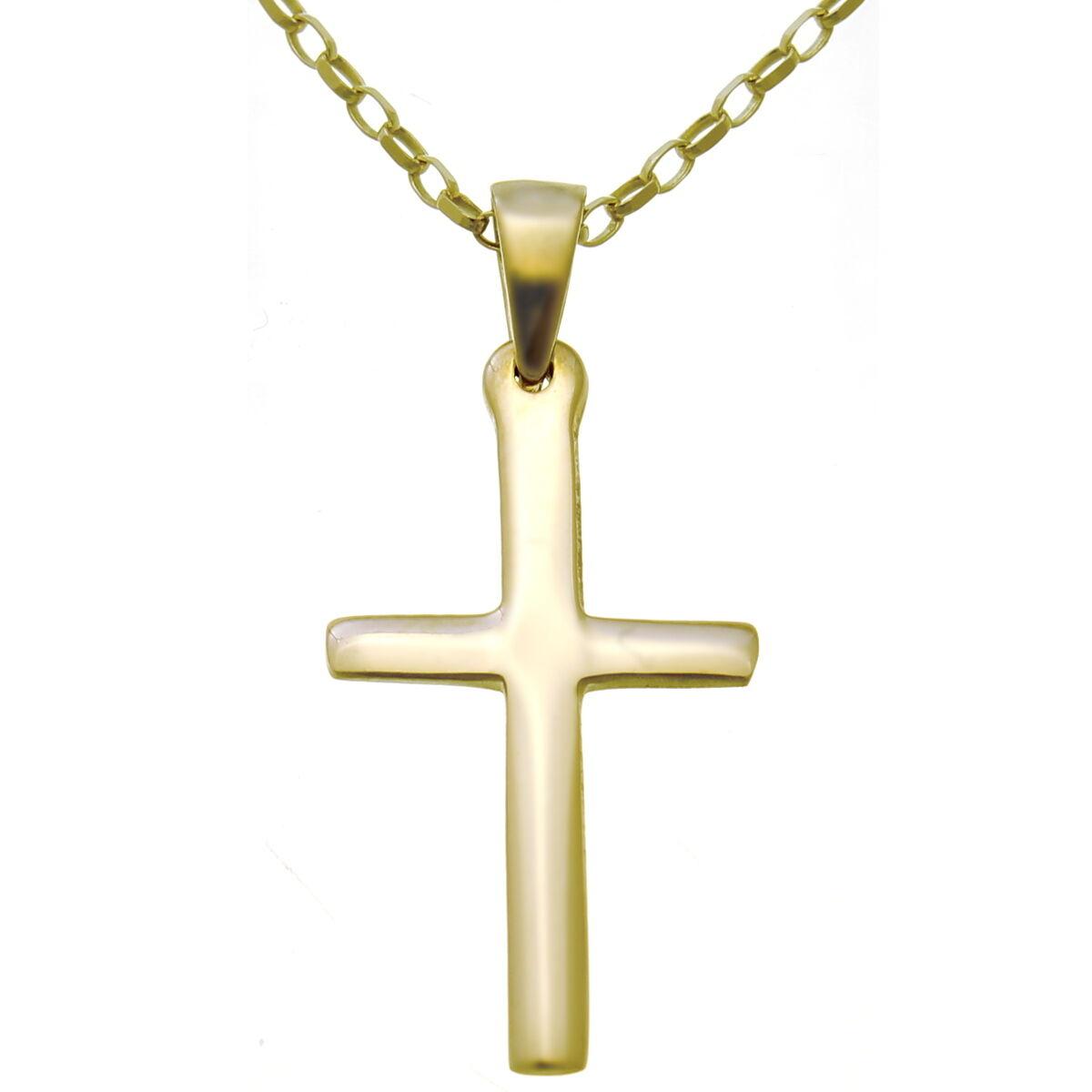 UOMO O DONNA SEMPLICE SEMPLICE SEMPLICE 9ct Pendente Croce d' oro COLLANA CON 45.7cm Catenina 1a4215